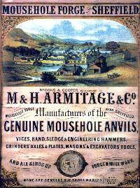 Back cover copy of broad sheet : Mousehole Forge, Brooks & Cooper Successors to M & H Armitage & Company Manufacturers of the Genuine Mousehole Anvils, Vices, Hand, Sledge, & Engineering Hammers, Grinders'Axels & Plates, Masons' & Excavators' Tools